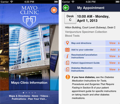 Pictures of two screens of the Mayo patient app