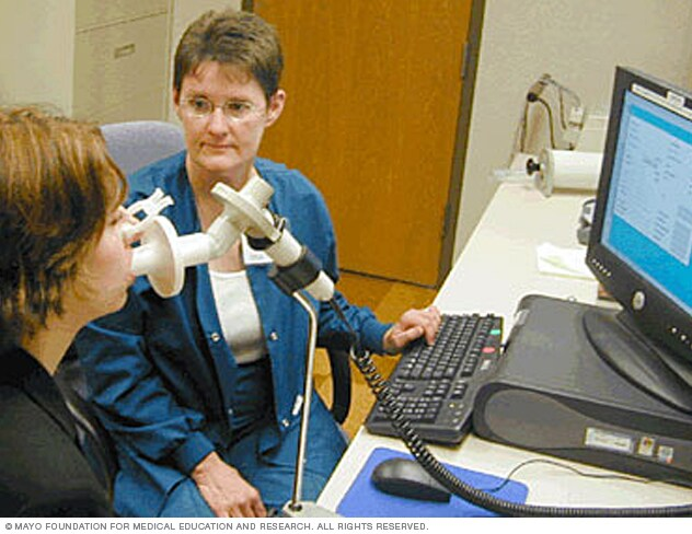 Photograph showing person using a spirometer