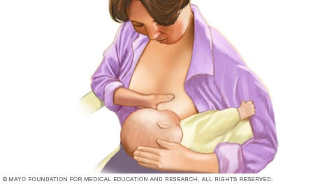 Illustration of woman breast-feeding with football hold