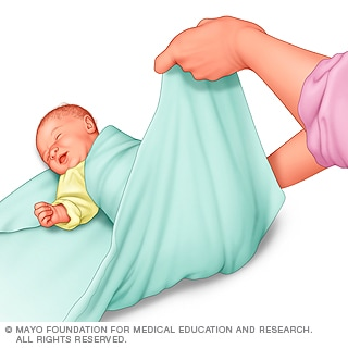 Illustration of swaddling in progress