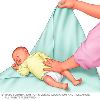 Illustration of preparing the blanket for swaddling