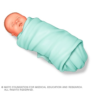 Illustration of baby swaddled in a blanket