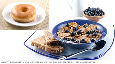 Bran flakes with blueberries and whole-wheat toast