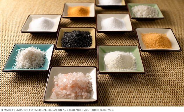 Photograph of various types of gourmet salt