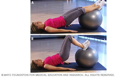 Photo of woman doing bridge with heel dig on fitness ball