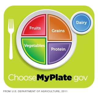 The MyPlate graphic makes it easy to remember portion sizes for the food groups.