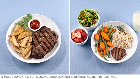 Restaurant steak dinner vs. one with proper portions