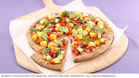 Photo showing mango salsa pizza