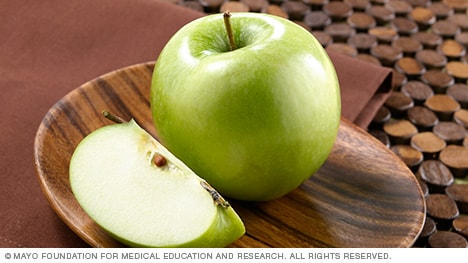 Green apples on a small plate