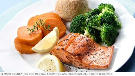 Dinner plate with salmon, broccoli, sweet potatoes and a roll
