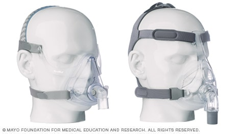 Photos of two full face CPAP masks that cover nose and mouth