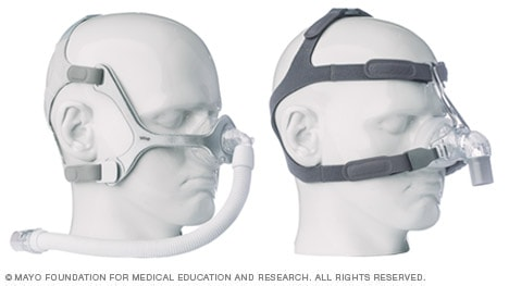 Photos of nasal CPAP mask with foam cushion and side straps