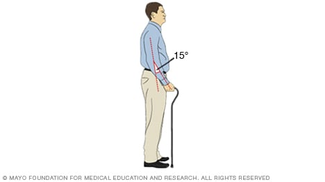 Illustration of a person using a cane