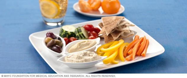 Photo of pita, dip and fresh veggies