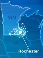 Map of Mayo Clinic Health System locations in Iowa, Minnesota and Wisconsin