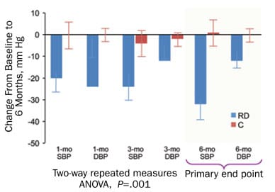 Graph of paired changes in office-based blood pressure measurements at one, three and six months after renal denervation