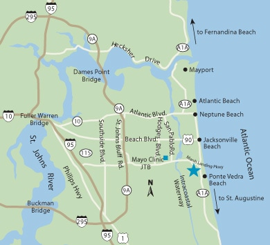 Jacksonville Beach family medicine map