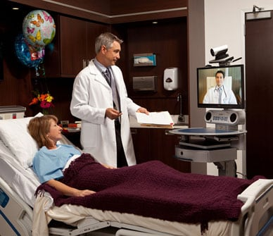 Telemedicine cart in use