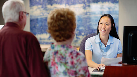Photo of a Mayo Clinic clinical assistant and patients