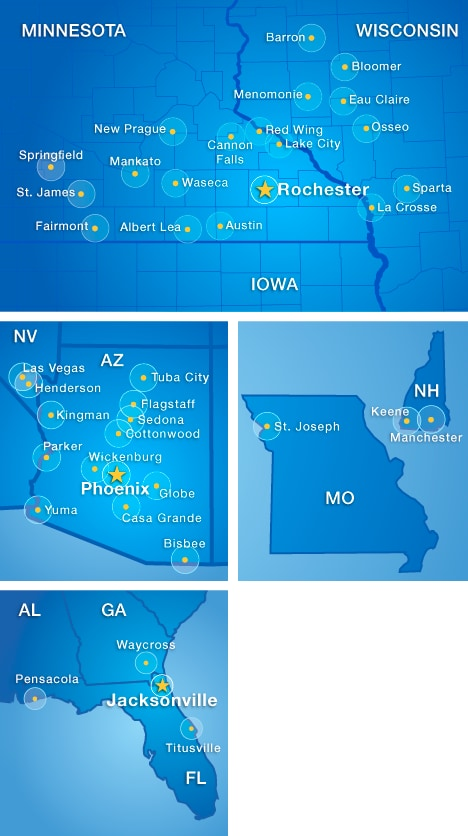 Stroke telemedicine map at Mayo Clinic