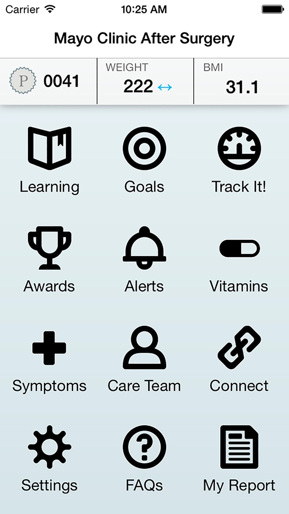 Image of post-bariatric surgery app home screen