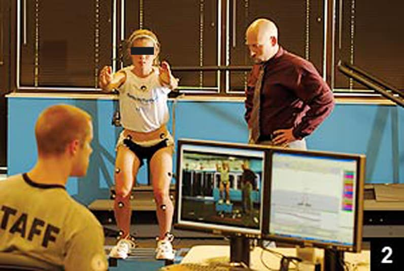 Photograph showing Timothy E. Hewett, Ph.D., and technician assessing a female athlete