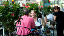 People dining outside in Rochester, Minnesota
