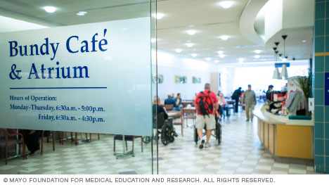Entrance to Bundy Café & Atrium at Mayo Clinic's campus in Florida