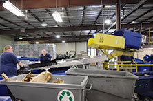 Workers shown sorting recyclables at Mayo Clinic's Rochester, Minnesota facility