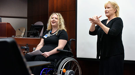 Mayo Clinic staff member doing American Sign Language