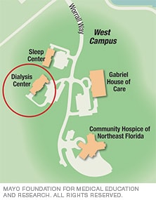 Map of Mayo Clinic Dialysis Center, Jacksonville, Florida