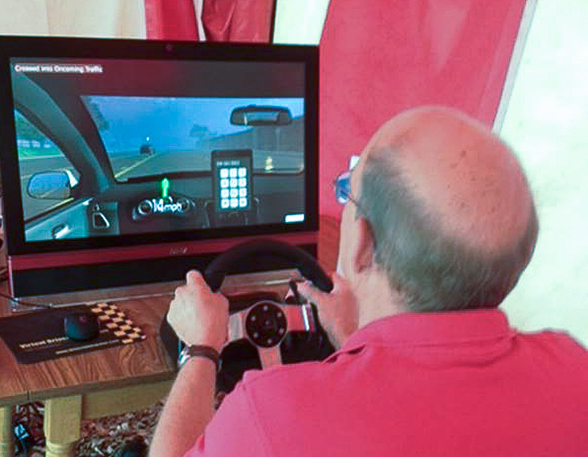 Distracted driving simulator in use